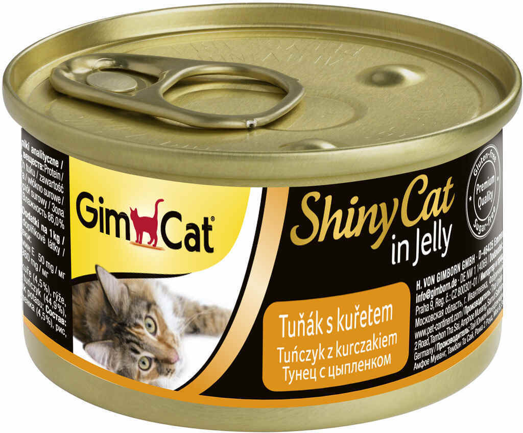 GimCat ShinyCat конс д/кошек из тунца с цыпленком 70 г