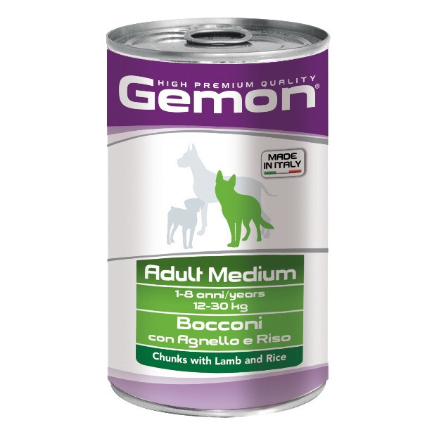 Gemon Dog конс д/собак средних ягненок 1250 г