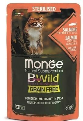 Monge Cat BWild GF пауч д/стерил кошек лосось 85 г