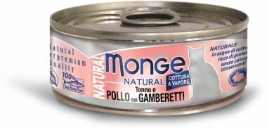 Monge Cat Natural конс д/кошек тунец курица креветки 80 г