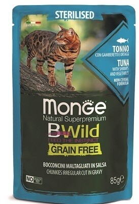 Monge Cat BWild GF пауч д/стерил кошек тунец 85 г