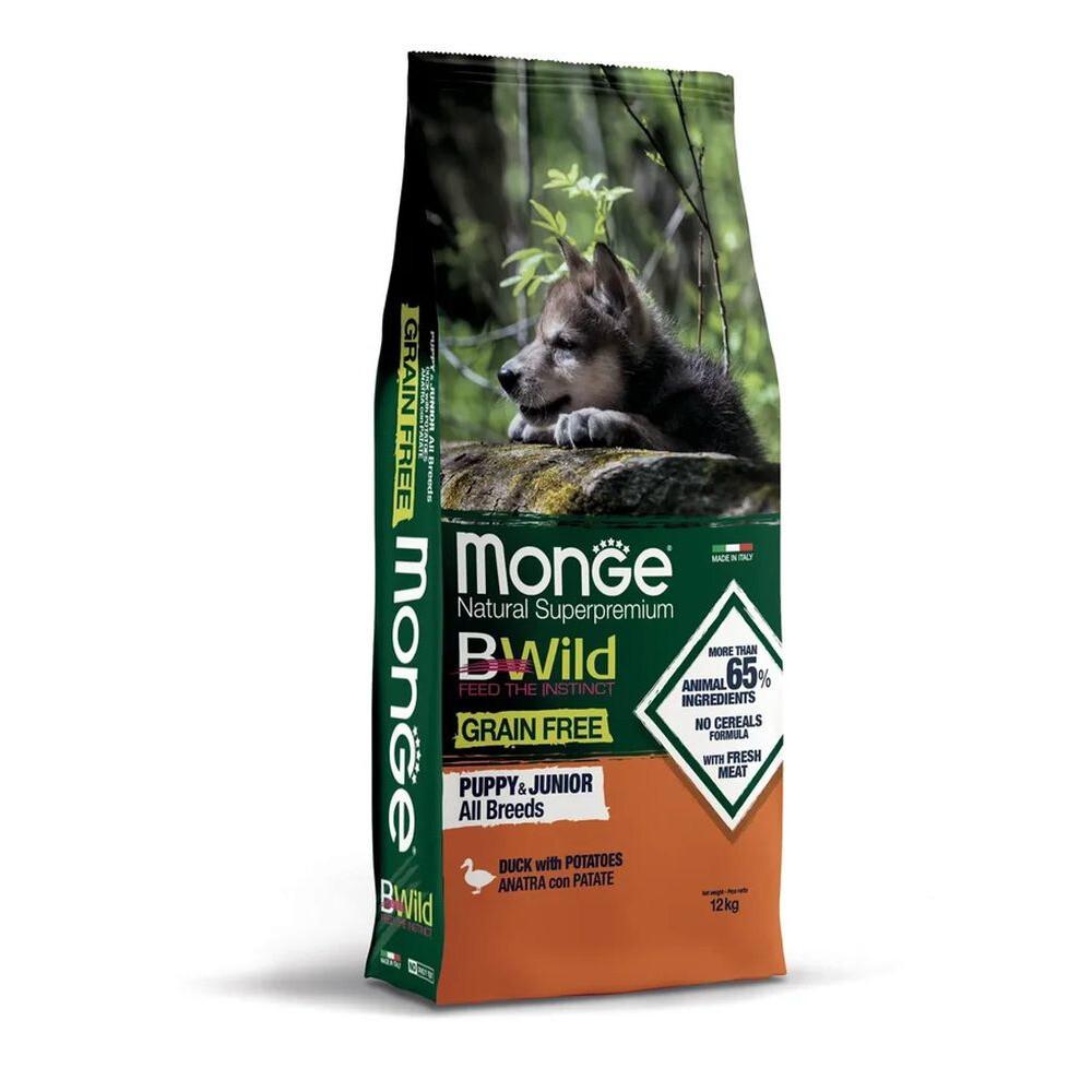 Monge Dog BWild GF Puppy Junior беззерновой д/щенков утка 12 кг