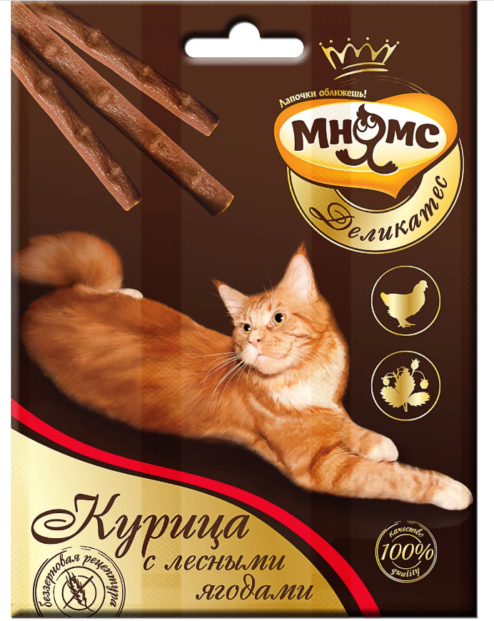 Мнямс Деликатес лакомые палочки 9 см д/кошек с курицей и лесными ягодами 3*4 г