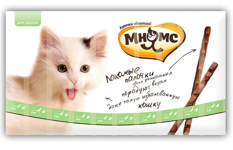Мнямс Лакомые палочки д/кошек с уткой и кроликом 10*5 г