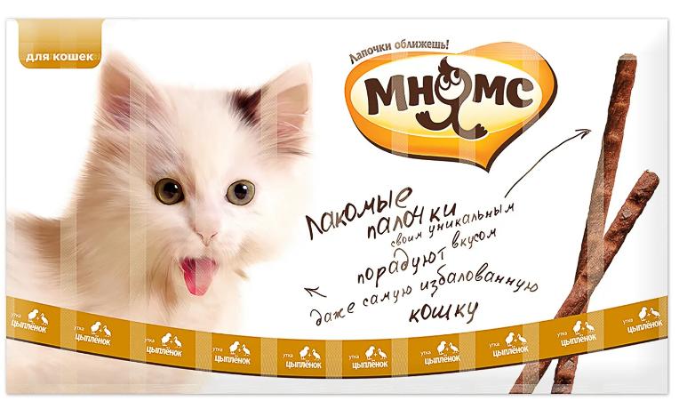 Мнямс Лакомые палочки д/кошек с цыпленком и уткой 10*5 г