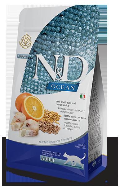 N&D Cat Ocean д/кошек треска апельсин 1,5 кг