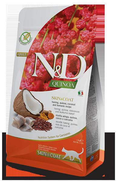 N&D Cat GF Quinoa Skin&Coat д/кошек с сельдью 1,5 кг
