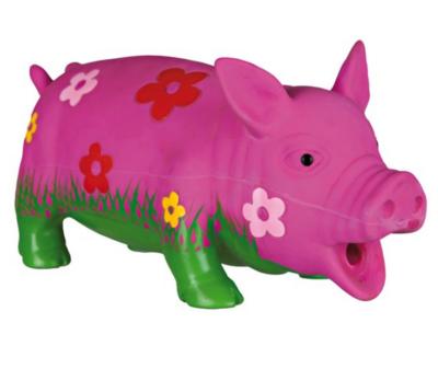 Игр д/собак Свинка в цветочек 20 см латекс