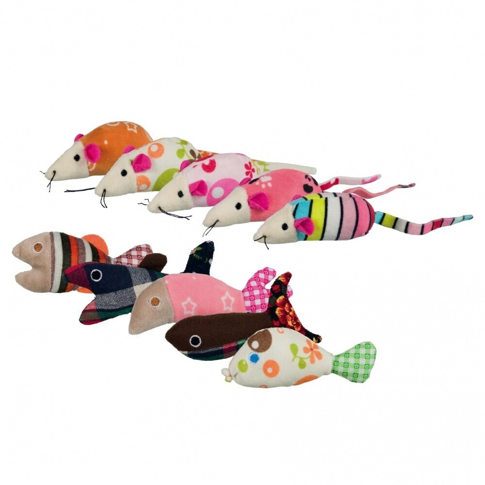 Игр д/кошки Мышки и рыбки 9-12 см плюш