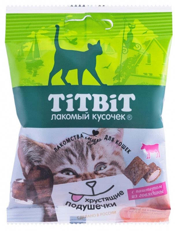 ТБ Хрустящие подушечки д/кошек говядина паштет 30 г