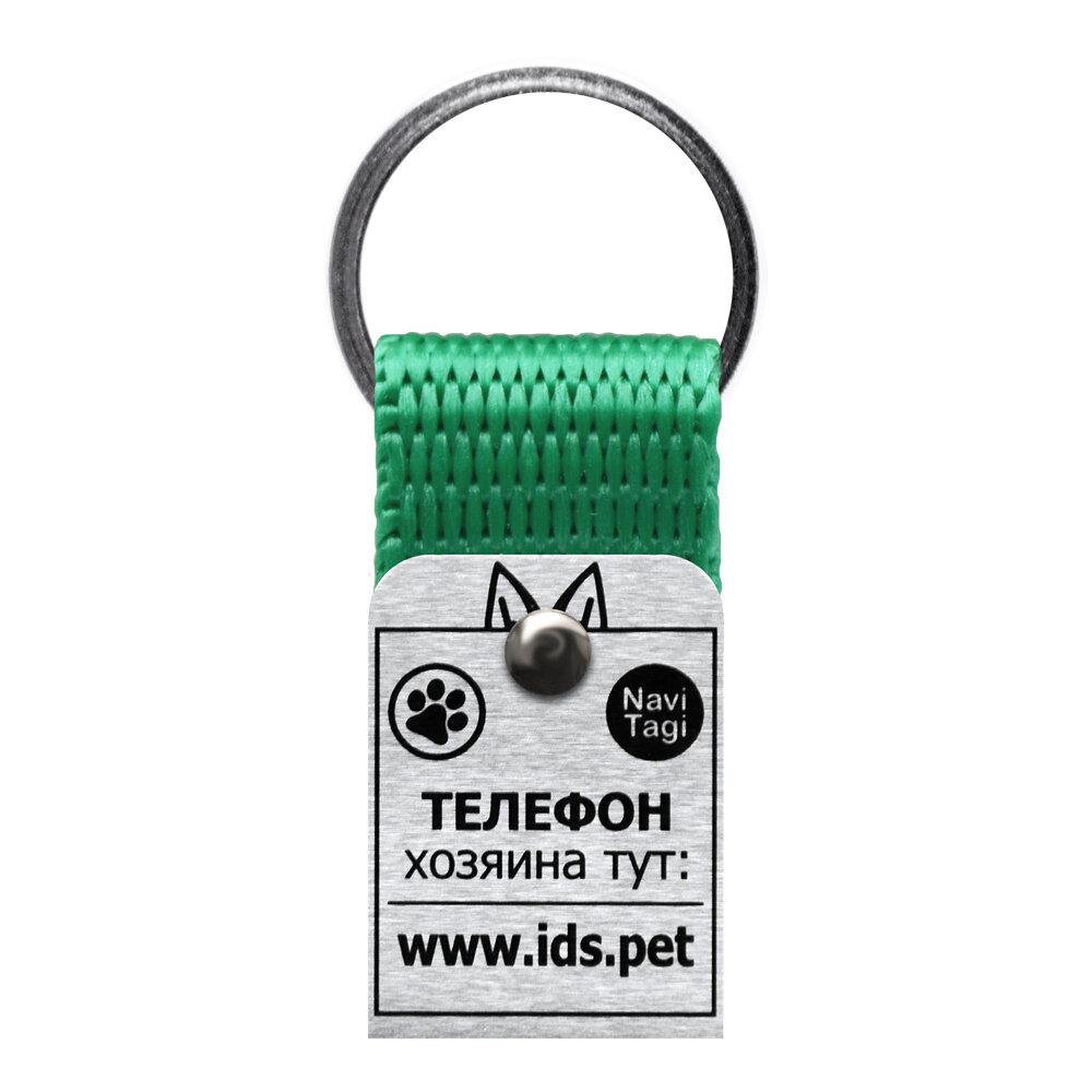 Адресник для небольших собак и кошек NaviTagi, зеленый