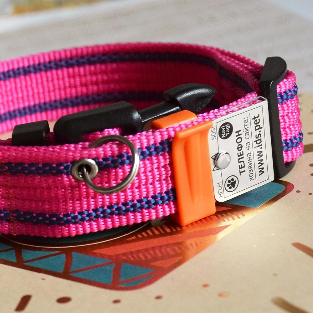 Ошейник с Адресником для средних собак, темно-розовый