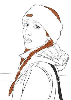 Retrato individual. Simple, sin sombreado.