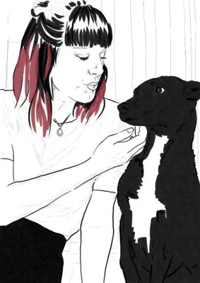 Retrato individual con mascota. Textura sombreado.