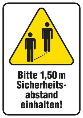 Boden- und Wandaufkleber | Bitte 1,50 m Sicherheitsabstand | DIN A4