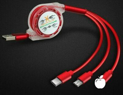 Кабель 3 в 1 складной USB - (lighting, type-c, micro usb)