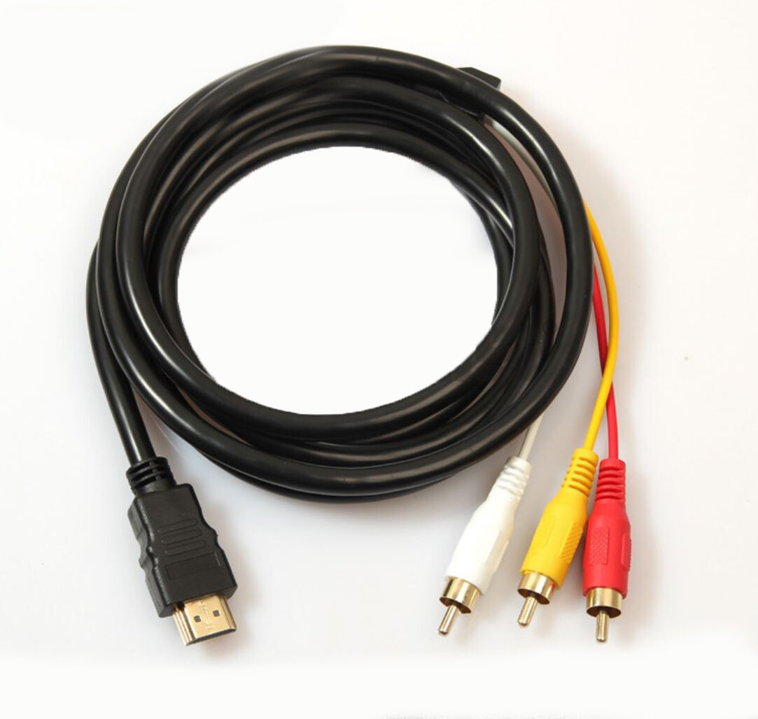 Кабель переходник HDMI - 3RCA (колокольчики) 1,5 м.