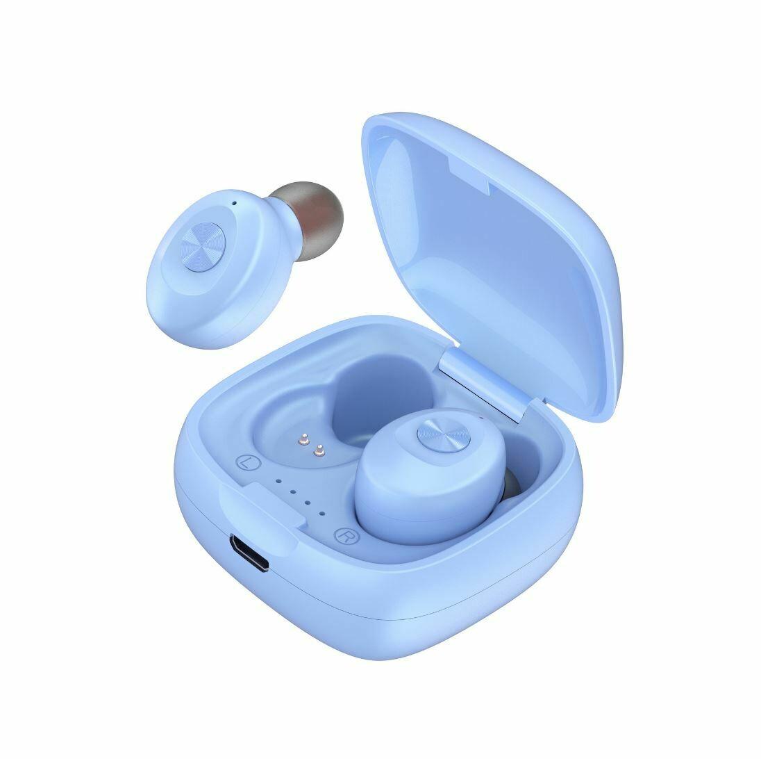 Наушники беспроводные bluetooth TWS Dual-Pass XG12 цвет синий