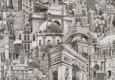Брянские обои бумажные (дуплекс) 0,53мx10м Города 02 и Города фон 02