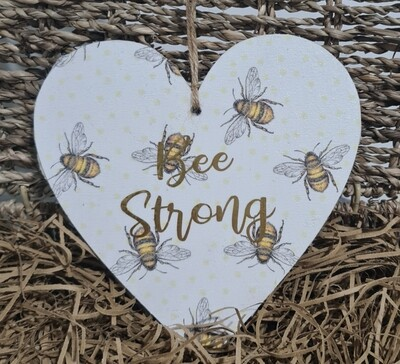 Large Wooden Slogan Bee Heart Signs