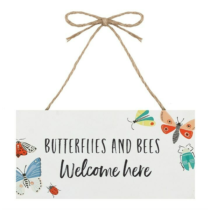 BUTTERFLIES AND BEES HANGING GARDEN SIGN