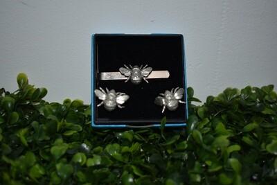 Bee Cufflinks & Tie Clip