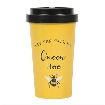 QUEEN BEE PRINT BAMBOO ECO TRAVEL MUG