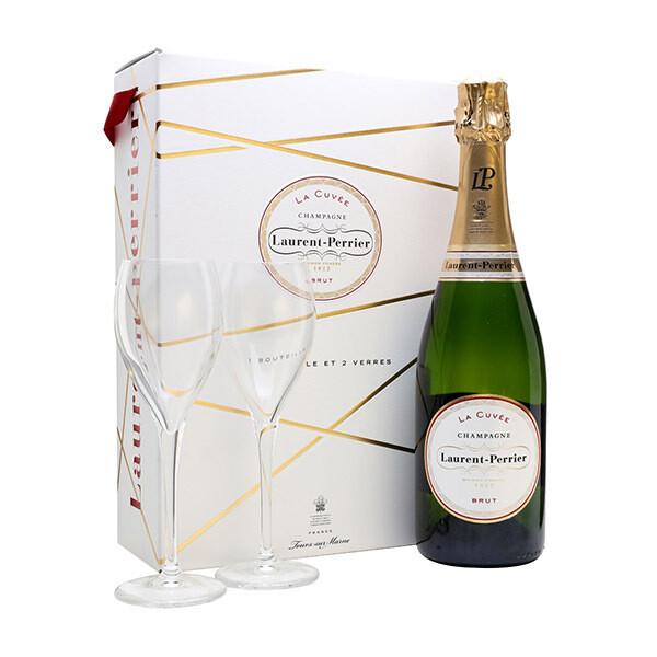 Laurent-Perrier La Cuvee Brut Champagne 2 Flutes Gift Set