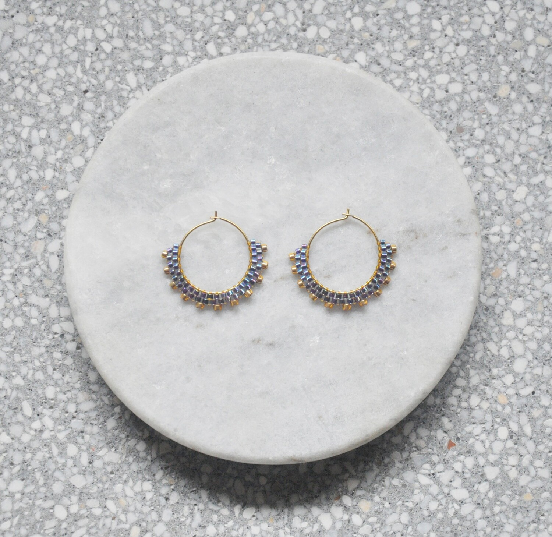 Seed Bead Hoop Earrings Mini Creole