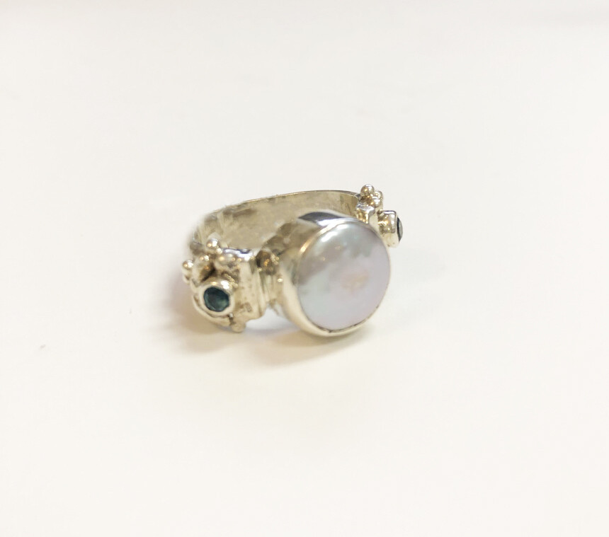 Sterling Ring with Pearl & Blue Topaz
