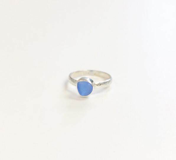 Bezel Set Sea Glass Stackable Rings