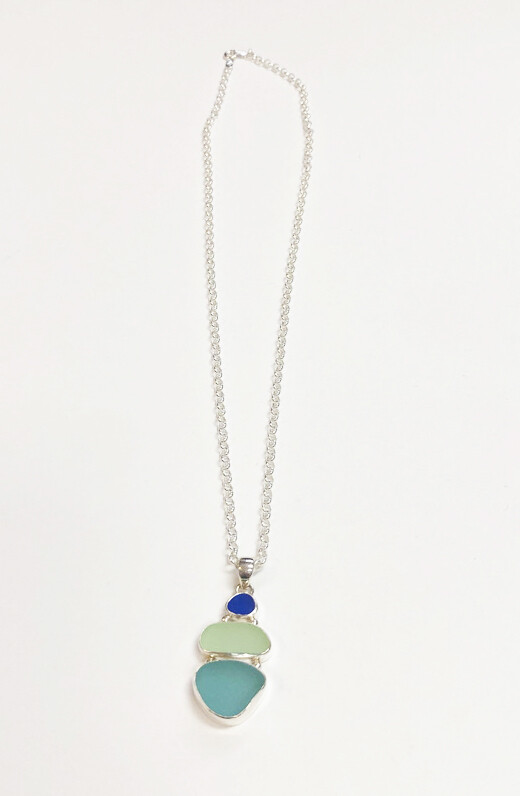 Bezel Set Sea Glass Triple Necklace