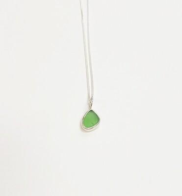 Bezel Set Sea Glass Necklace