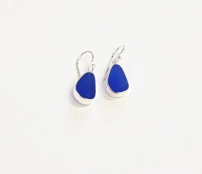 Bezel Set Sea Glass Earrings