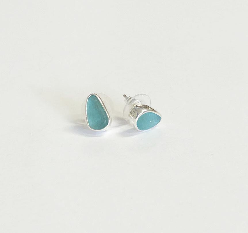 Bezel Set Sea Glass Post Earrings
