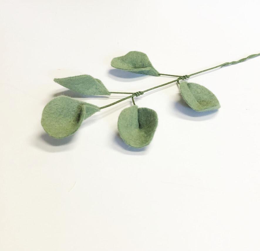 Felt Silver Dollar Eucalyptus Stem