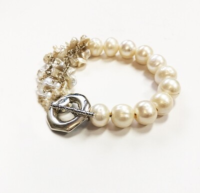 Asymmetrical Pearl Bracelet with Sterling Toggle