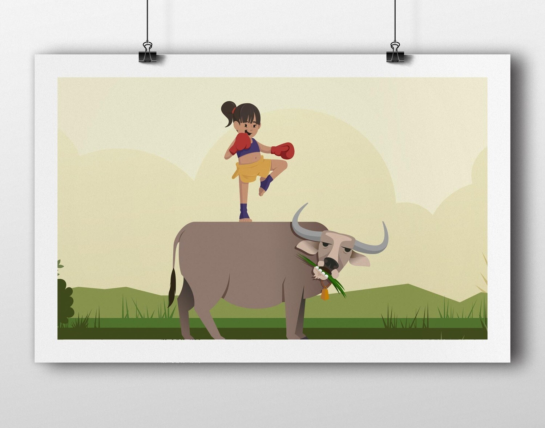 Nungning and her buffalo, Gwang
