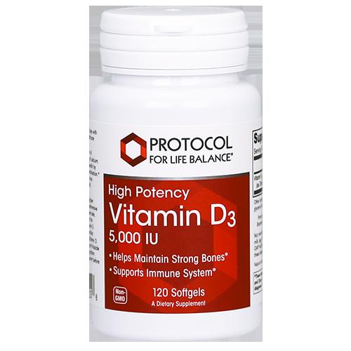 Vitamin D3 5000IU 120 gel Protocol for Life Balance