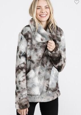 Fashion District - Tie Dye Sherpa fold over neck