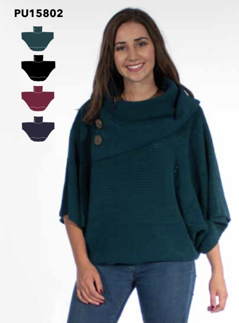 COLINE - PU15802 - PONCHO WITH BUTTONS