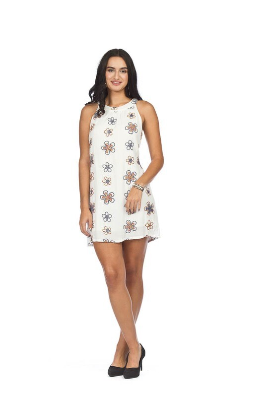 PAPILLON - PD05562 - DRESS SHIFT EMBROIDERED