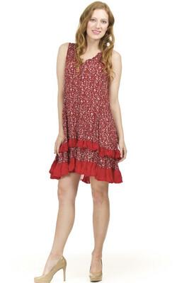PAPILLON - PD01689 - DRESS RUFFLE RED DITSY PRINT