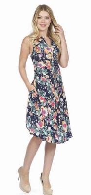 PAPILLON - PD05690 - DRESS HENLEY FLORAL