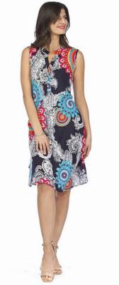 PAPILLON - PD01606 - DRESS HENLEY MEDALLION PRINT