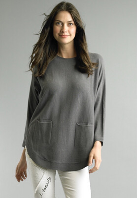TEMPO PARIS - 1549N - GRAY TOP WITH POCKETS