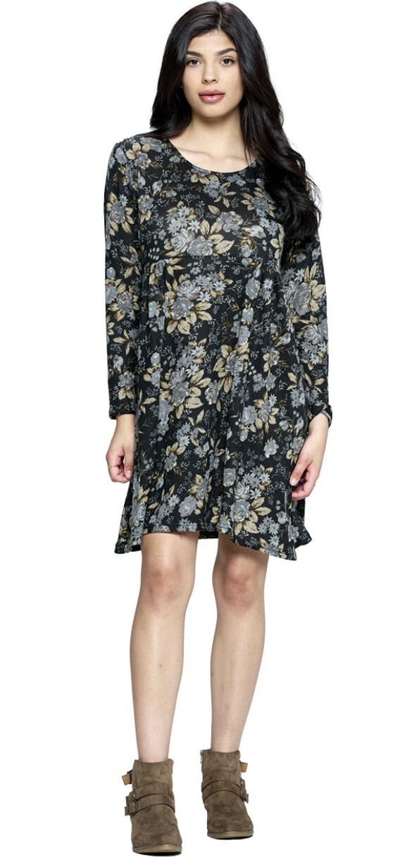 YAK & YETI - 21523 - BLACK FLORAL DRESS
