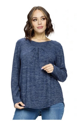 YAK & YETI - 21513 - BLUE FRONT PLEATED TOP