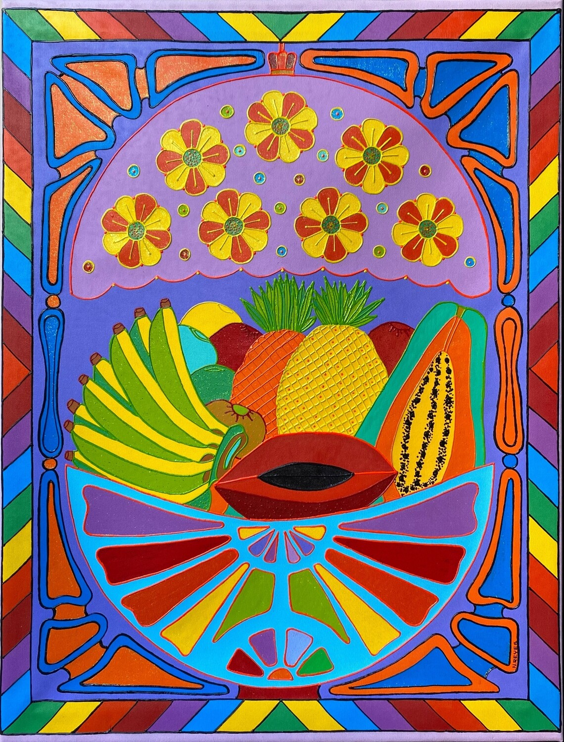 Fruits and Tiffany lamp by Nancy Reyes art