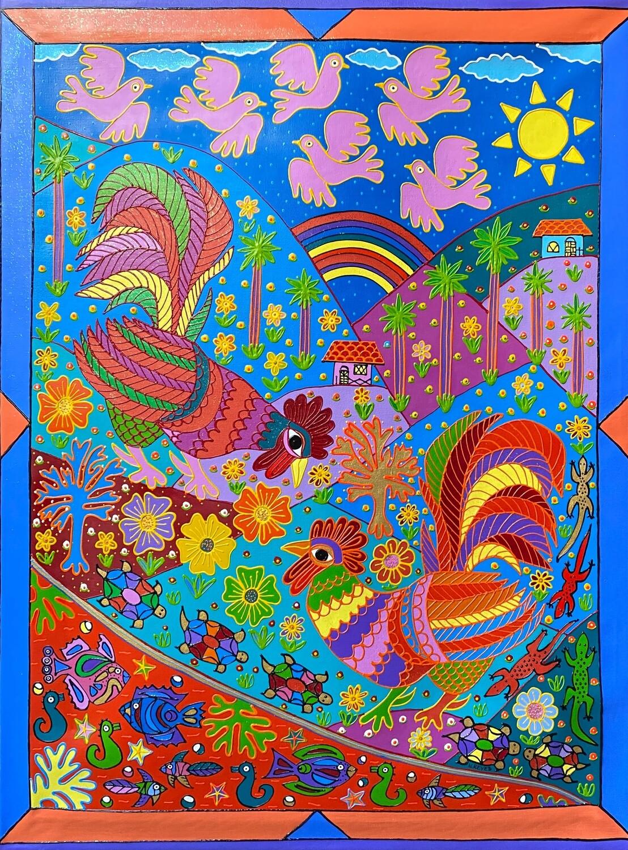 Roosters in the Field  by Nancy Reyes art